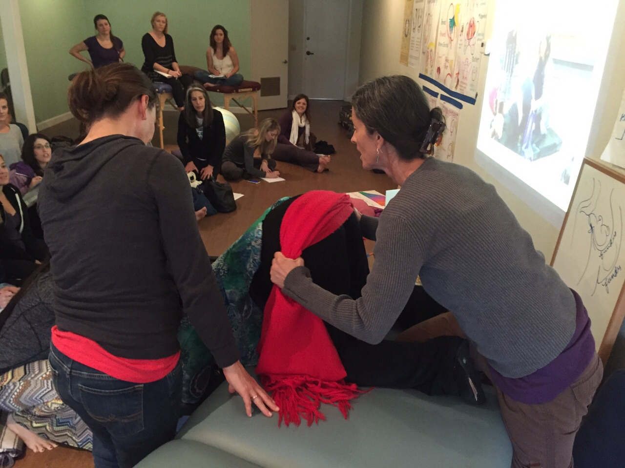 Shake the Apples in Forward-leaning Inversion with a rebozo